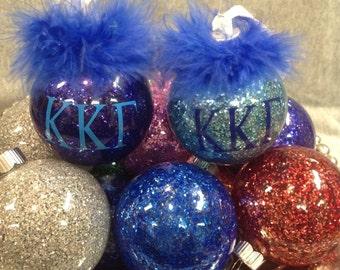 Kappa Kappa Gamma glittered sorority ornament