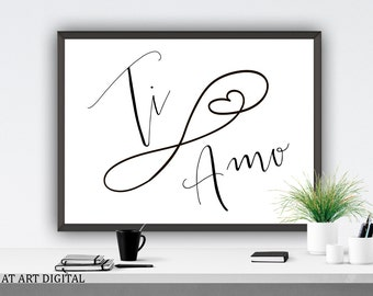 Love Quote Ti Amo Printable Art Instant Download Italian I Love You Love Valentines Day Romantic Print Valentines Card Love Printable