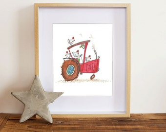 Childrens wall art - red tractor - farm animals - chooks driving tractor