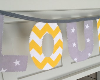 Grey and Yellow Personalised Name Bunting