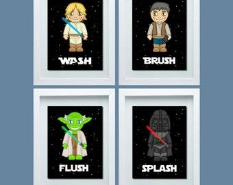 star wars inspired bathroom decor star wars inspired wash brush flush boys bathroom rules