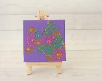 Mini Art - Gift Under 20 - Henna Art - Mini Easel - Mini Canvas - Mini Canvas Art - Mini Painting - Minimalist Art - Minimalist Painting