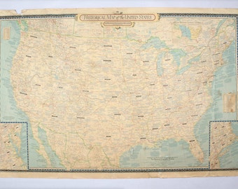 Rare Oversized 1953 National Geographic Historical Map of the United States