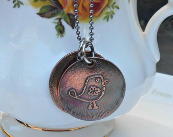 Bird Pendant, Bird and Heart Necklace, Etched Bird Necklace, Copper Necklace, Friend Necklace, Friend Gift, Gifts for Mum, Girlfriend Gift.