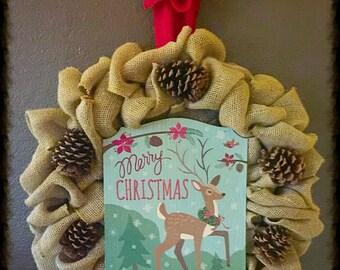 Burlap & Pinecone Wreath