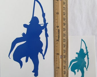 Vinyl Gamer RPG Car Window Decal Sticker Female Ranger Hunter with Drawn Bow Silhouette Role Playing Game Gaming D&D Dungeons Dragons