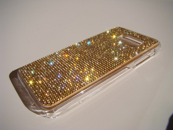 Galaxy S7 Gold Topaz Crystals on Transparent Case. Velvet/Silk Pouch Bag Included, Genuine Rangsee Crystal Cases.