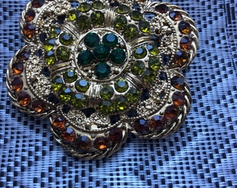 Gold Brooch with multicolored stones, Brooch Bouquet, Wedding