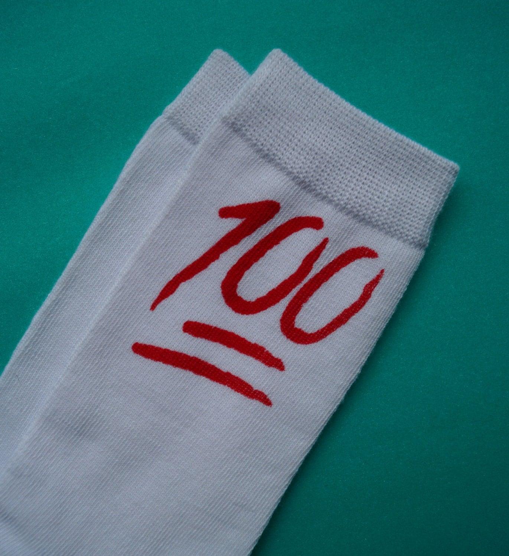 red 100 emoji socks