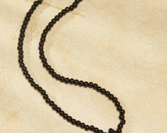 Beautiful Black Necklace Pearls with Black charm marmol