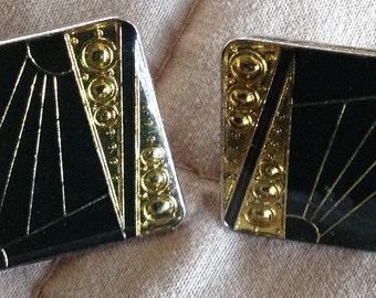 Black and gold Art Deco post earrings: stylized sunburst
