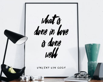 Vincent Van Gogh Print — Typography Quote Print Printable Digital Wall Art Typography Poster Black And White Minimalistic Poster Print