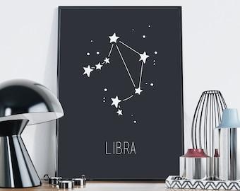 Libra Print — Libra Zodiac Print Libra Constellation Printable Zodiac Sign Horoscope Astrology Printable Wall Art Nursery Poster