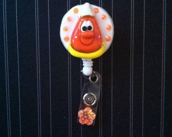Handmade Polymer Clay Candy Corn Badge Reel