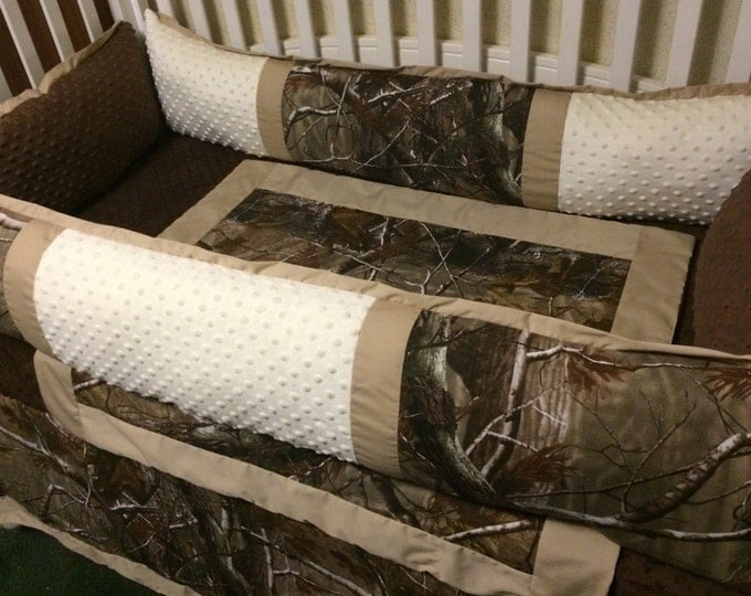 Custom Camo Baby Bedding- 4 pc Camo Baby Bedding with Camo, brown and cream minky with tan trim