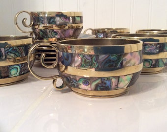 Vintage abalone and brass demitasse espresso cup and saucer coffee tea set of  6 made in Mexico