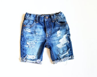 Jax Cutoff Shorts Knee Length Boy Baby/Toddler/Child Distressed Denim Ripped Jeans Shorts