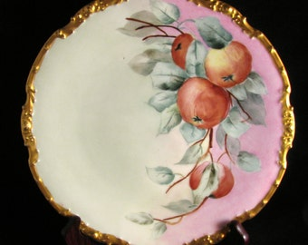 Gorgeous La Seynie P & P Limoges Hand Painted Plate Apples 8 3/8""