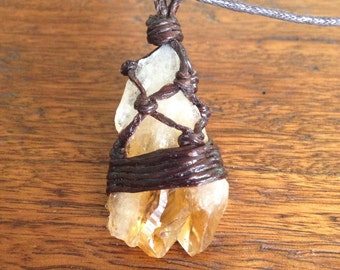 Citrine raw crystal pendant necklace earthy rustic healing