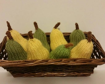 Knitted Pear   Play Food Pear   Hand Knit Fruit   Plush Pear   Pear Toy