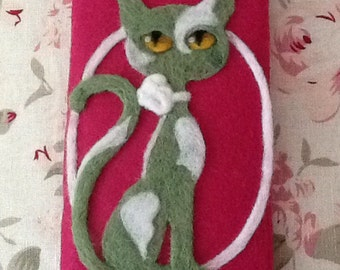 Hand Felted Money Credit Card Wallet My Cat