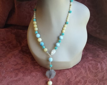 Yellow faceted jade, larimar, onyx and rose cut turquoise adjustable lenght necklace