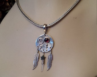 Native American sterling silver feather pendant