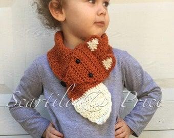 Crochet fox scarf, toddler/child