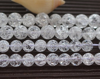 8mm 10mm Natural Snow Rock Crystal Quartz round beads, 15 inches 1 strand