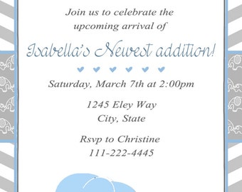Elephant  Baby Shower Printed Invitations BOY