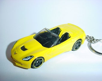 New 3D Yellow Chevrolet Corvette StingRay Custom Keychain keyring key chain by Brian Thornton