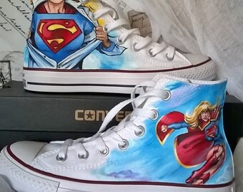 Super girl shoes , Converse shoes, hand painted superhero shoes, comic inspired art, custom converse shoes