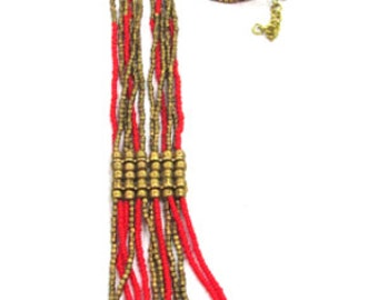 Tribal necklace SHO-271 red