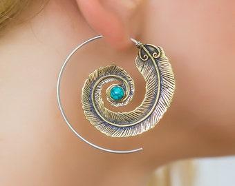 Feather earrings. bohemian earrings. hippie earrings. turquoise jewelry. gypsy earrings. statement earrings. boho earrings. large earrings.