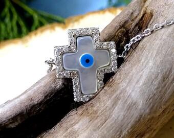 Sterling Silver Mother of Pearl Swarovski Crystal Protective Eye Cross Bracelet