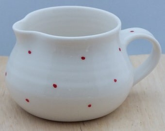 Handmade Milk Jug with Blue or Red Spots