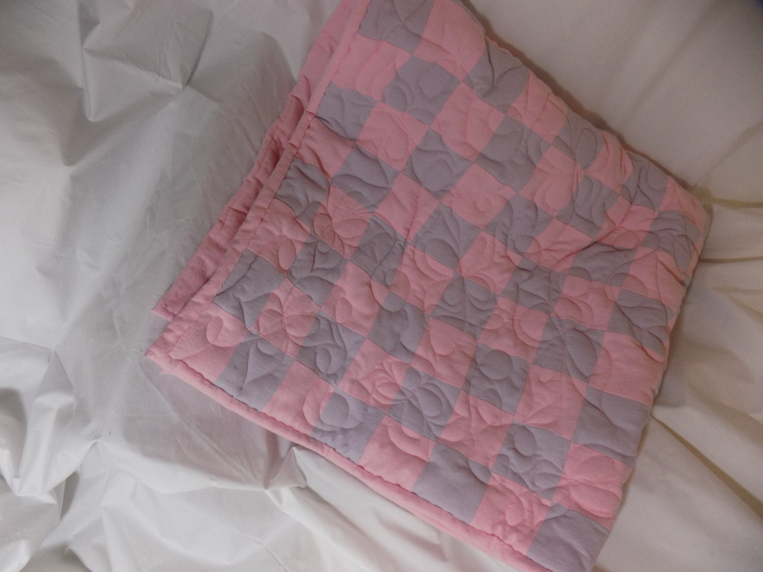 4 39 x 4 39 flannel baby floor quilt light pink and for Floor quilt for babies