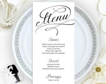 Wedding menu cards printed on shimmer cardstock   Dinner menu cards   Elegant menu cards   Personalized wedding menu