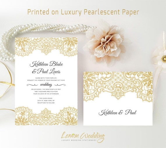 Gold Lace Wedding Invitation And Rsvp Card Printed Classy