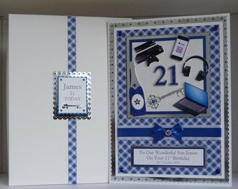 Birthday Card 18th/21st/30th etc + box Son/Grandson/Boyfriend etc Customized with items of your choice Personalised Handmade