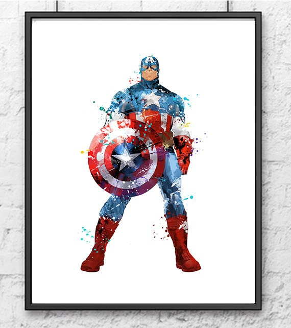 Avengers Watercolor: Captain America Watercolor Print Avengers Art By Gingerkidsart