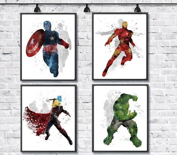 Avengers Watercolor: Avengers Watercolor Set Superheroes Watercolor By
