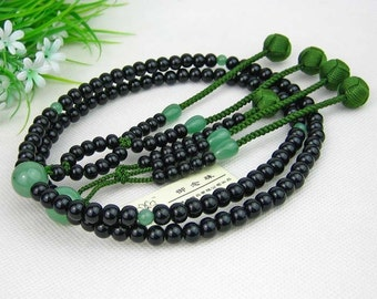 SGI Buddhist Rosary Juzu prayer beads, Kokutan black sandalwood 108,  Hokke Nichiren nenju craft, Free Shipping