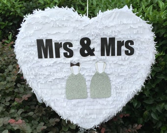 Mrs & Mrs Heart Wedding Pinata