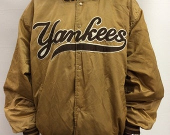 Tan Yankees Satin Bomber Jacket With Patch Size XXL