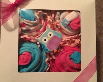 Boxed Set Of 4 Owl themed Outfit Cupcakes Pink Aqua Baby Shower Gift
