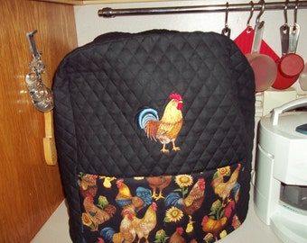 Kitchenaid mixer cover, Quilted with pockets, rooster