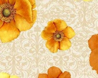 Windflower flannel fabric. cream poppies orange flowers floral quilt quilting cotton Wilmington Prints Daphne B. 1932