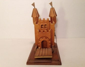 """Nice Wooden/Wood Castle Music Box That Plays The Song """"Camelot"""" Moving Door.Figurine.Statue.Sculpture With Flags.Home Decor.Music in Motion"""