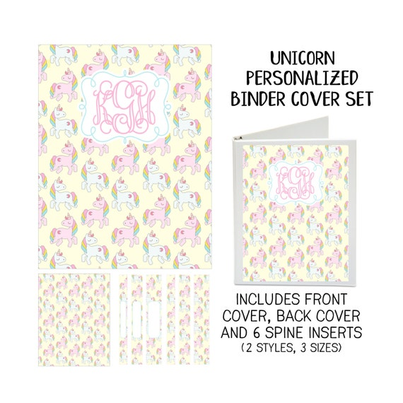 Unicorn Printable Binder Cover Set with Front & Back Covers and Spine inserts - Personalized- Dress up Your Three Ring Binder!